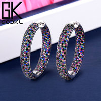 GODKI Luxury Round Circle Cubic Zirconia Statement Hoop Earrings For Women Wedding DUBAI Big Earring boucle d'oreille femme 2018