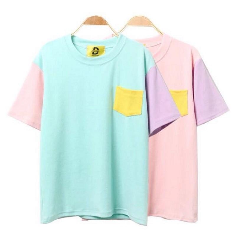 2019 Women'S Punk Harajuku Ulzzang School Candy Color Patch Loose Pocket T Shirt Female Korean Kawaii Cute Tee And Top For Women