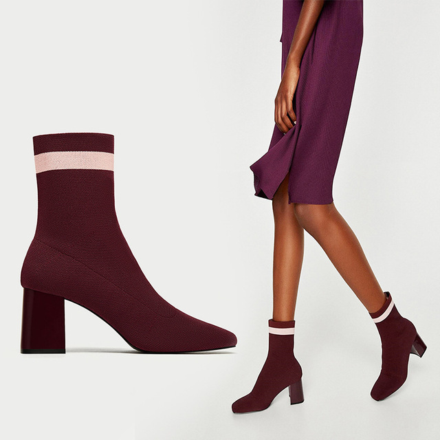 Teahoo Slim Stretch Ankle Boots for Women Pointed Toe Sock