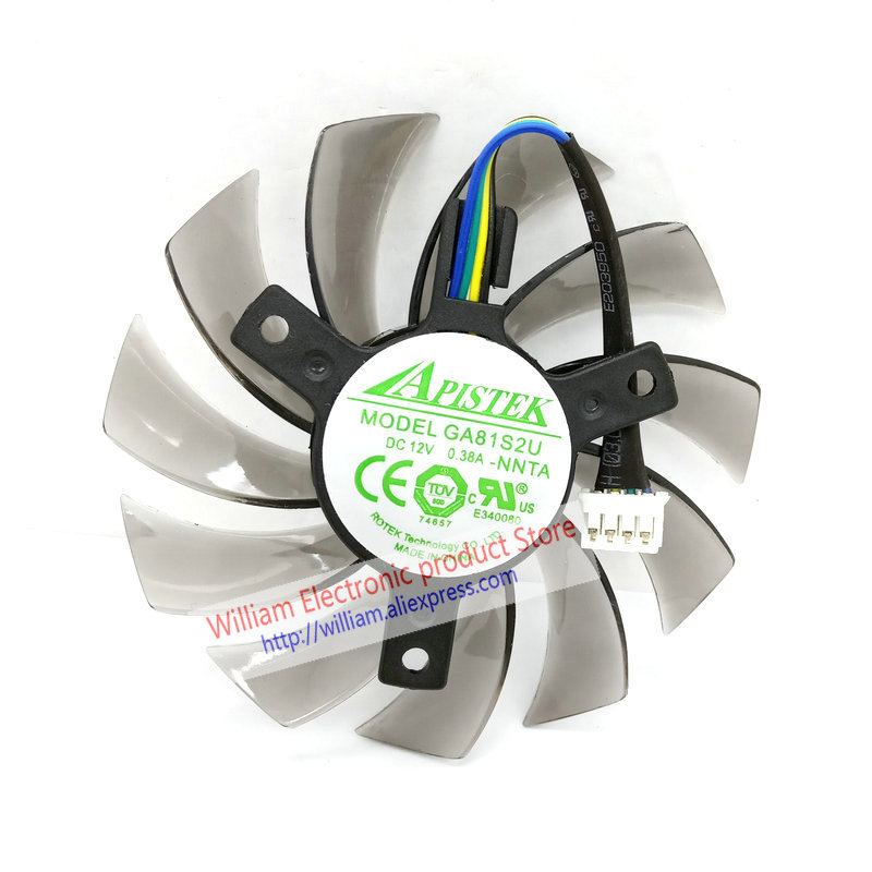 New Original For EVGA GT430 GT440 GT630 Video Graphics Card Cooling Fan GA81S2U DC12V 0.38A Diameter 74MM Pitch 40MM