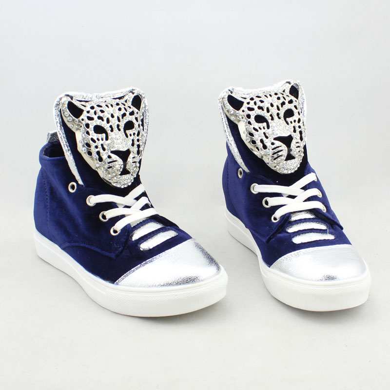 New Women 39 s Casual Platform Height Increasing Sneakers Fashion Rhinestone Metal Leopard Buckle Decoration Ladies Wedge Sneakers in Women 39 s Vulcanize Shoes from Shoes
