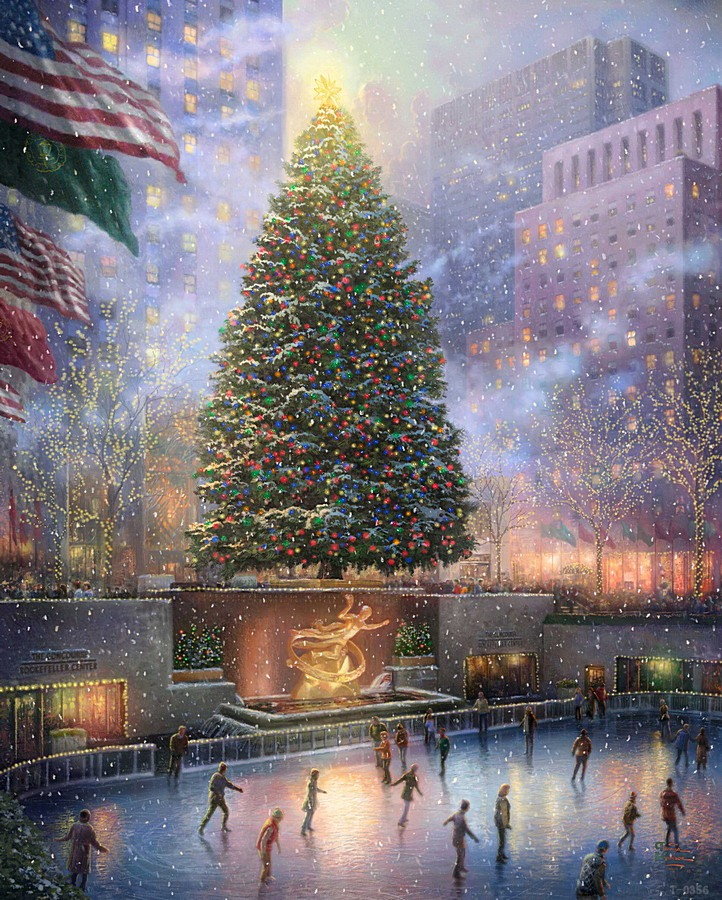 Thomas Kinkade Christmas.Us 6 48 25 Off Thomas Kinkade Christmas In New York Modern Art Wall Panels Art Supplies Abstract Oil Painting Mass Effect Wall Picture Prints In