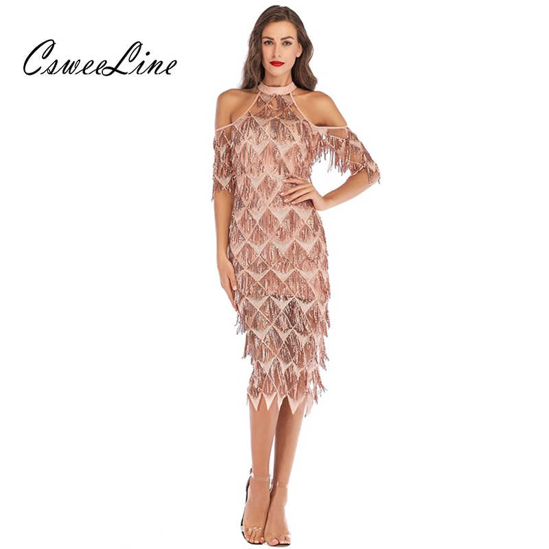 059802efd32 New Arrival Tassels Sequin Midi Dresses Women Elegant Sexy Gold Blue Party  Dress Ladies Fringe Off