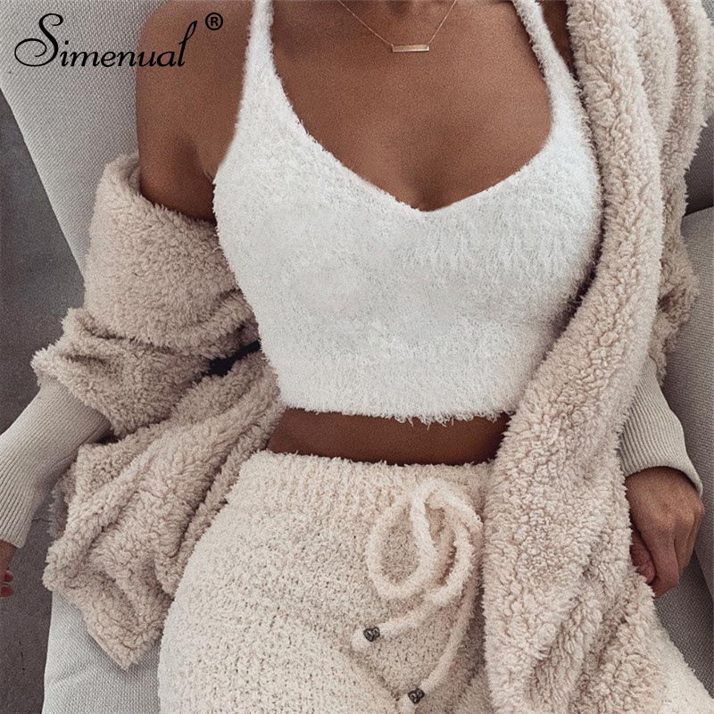 d96f54d913 Simenual V neck furry women tank tops white streetwear korean camis sexy  casual strap crop tank top 2019 spring summer bustier
