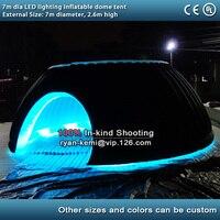 7 м Диаметр изменение цвета светодиодный освещения надувной купол палатки мероприятий на открытом воздухе Надувные Иглу вечерние шатер с с