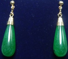 mujer moda pendientes oorbellen earrings  Good 925 Sterling Silver Green Jade Heart Stud Earrings Style