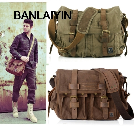 Nice Retro Vintage Cotton Canvas Leather Mens Messenger Bag Shoulder Bag Military Canvas Crossbody Bag Men Casual Bag Free Ship