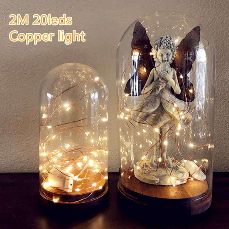 2M 20 LED Battery Operated LED Copper Wire String Lights for Xmas Garland Party Wedding Decoration Christmas Fairy Lights