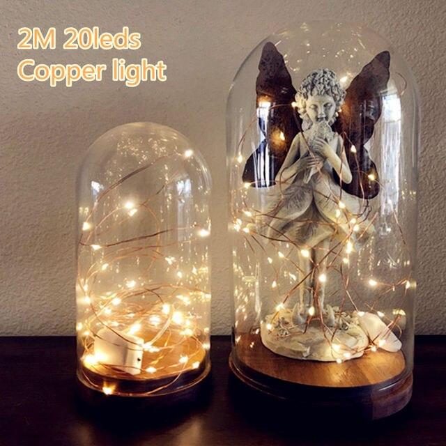 2 m 20 LED Battery Operated LED Koperdraad String Lights voor Xmas Guirlande Partij Bruiloft Decoratie Kerst Kerstverlichting