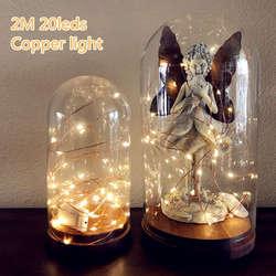 2 м 20 светодио дный на батарейсветодио дный светодиодные медные провода гирлянды для рождественской вечерние гирлянды для вечеринки