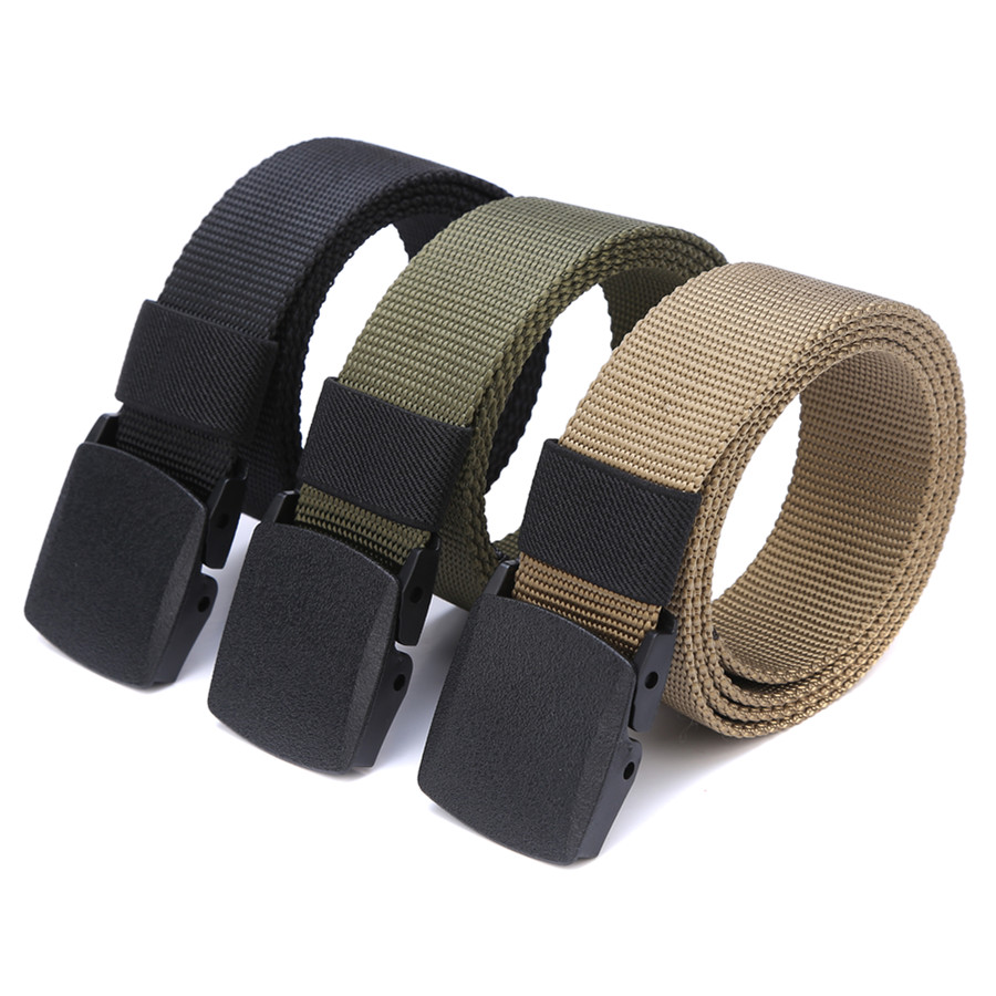 Outdoor Buckle Adjustable Hiking Canvas Belt Tactical Waistband Military Nylon