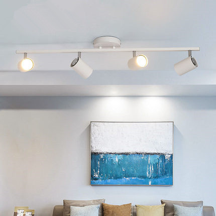 Nordic living room TV background wall ceiling mounted led track lights clothing store cloakroom ceiling spotlight