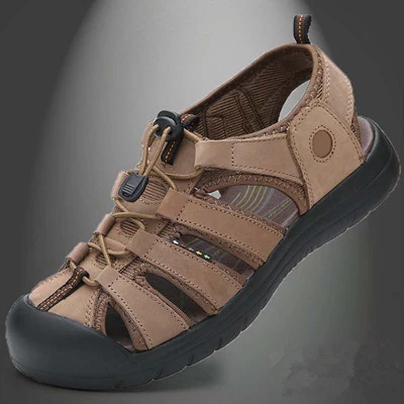 Men font b Sandals b font Summer Men Flat Shoes Genuine Leather Summer Shoes LM 01