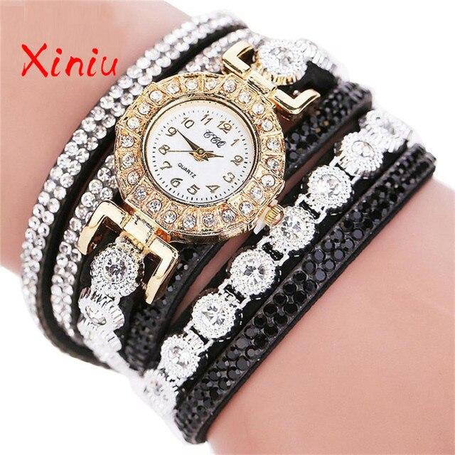 Watch Female Wrist 2018 Horloges Vrouwen Ladies Watch Rhinestone Pu Leather Anal