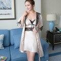 2017 Новые летние Женщины банный халат наборы Шелковой Ночной Рубашке 2 Шт. Сексуальные Благородный Элегантный кружева дамы пижамы женщин Ночное Белье Юбки