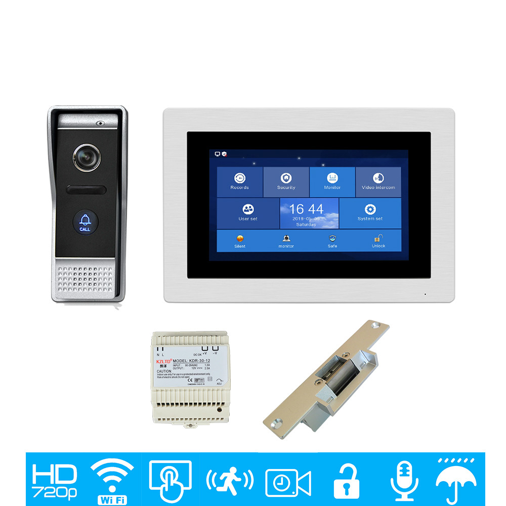 Freies Verschiffen 720 P Ahd Wifi Ip 7 touch Screen Video Intercom Tür Telefon Record Kit Din Zentralen Power Versorgung Entsperren Streik Lock Rohstoffe Sind Ohne EinschräNkung VerfüGbar Türsprechstelle