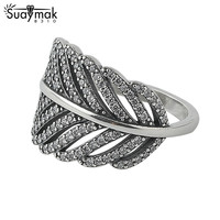Authentic 925 Sterling Silver Light As A Feather Ring Engagement Rings For Women Compatible With Fit