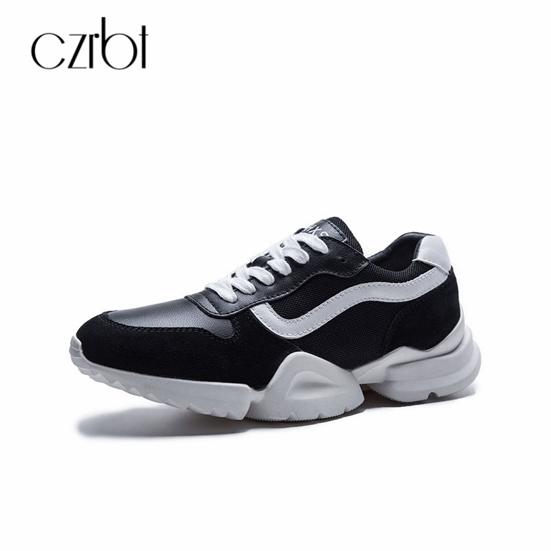 CZRBT Ladies Flat Shoes Genuine Leather Breathable Mesh Platform Shoes 2018 Lace Up Roend Toe Woman Casual Flats Women Sneakers czrbt women flat shoes new arrive genuine leather round toe slip on flat platform shoes woman casual flats army green black