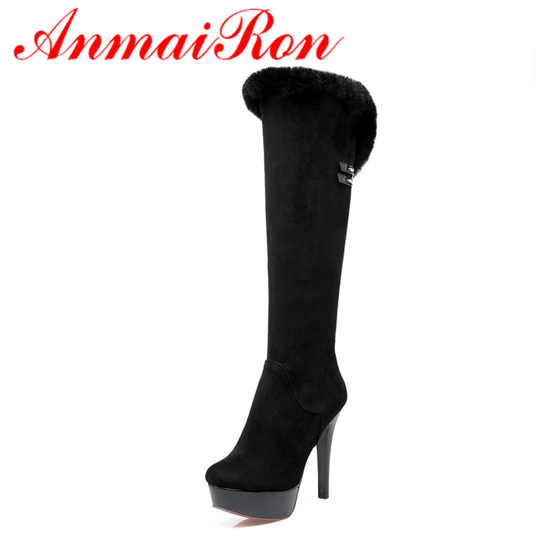ФОТО ANMAIRON High Heels Charms Shoes Woman Classic Black Shoes Round Toe Platform Zippers Knee-high Boots for Women Motorcycle Boots