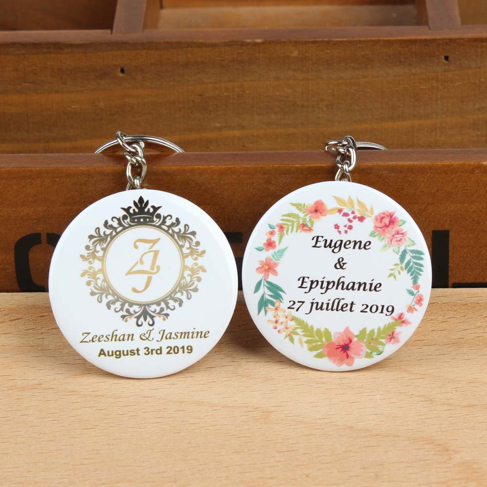 50pcs diameter 44mm Personalized name date Printed Photo logo Keychain with bottle opener baby shower wedding