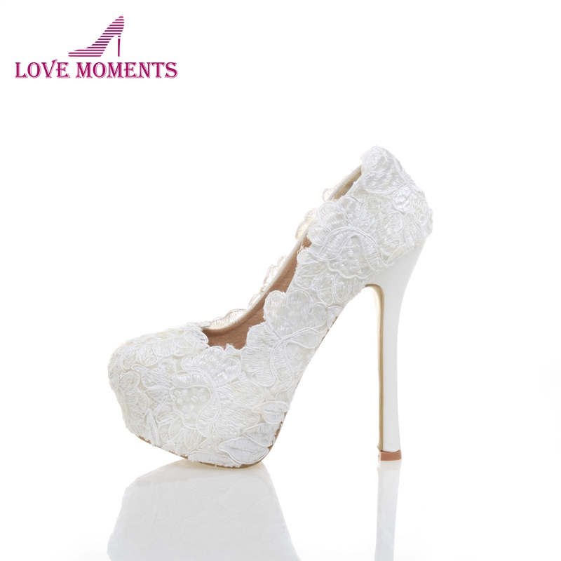 New Arrival Bride Wedding Shoes White Lace Flower Women High Heel Shoes Platform Formal Dress Pumps Adult Ceremony Shoes carollabelly sweet flower women pumps high heels lace platform pearls rhinestone wedding shoes bride dress shoes summer sandals