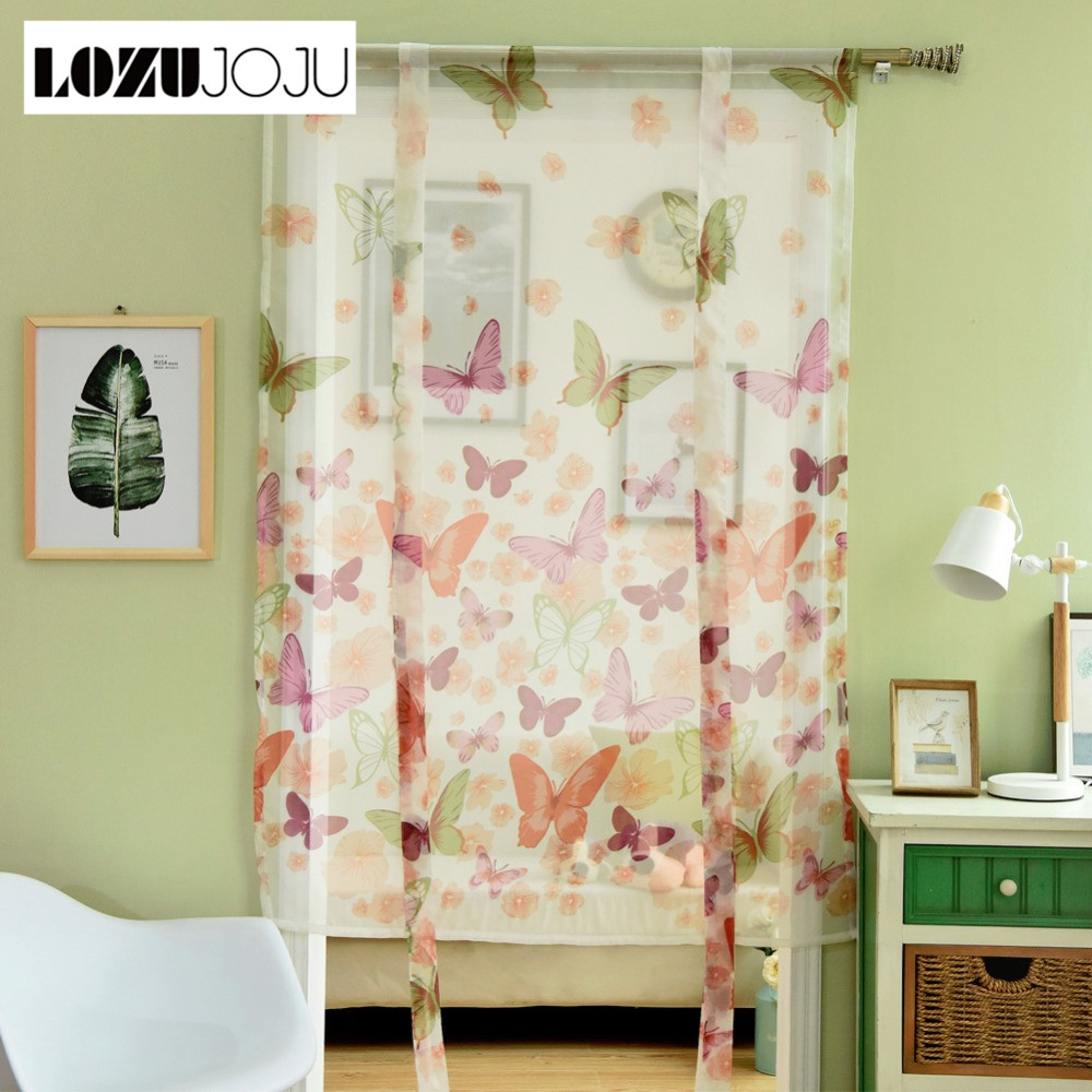 US $8.65 54% OFF|LOZUJOJU Sheer modern curtains Kitchen window curtain  short treatments butterfly window curtains door panel voile roman-in  Curtains ...