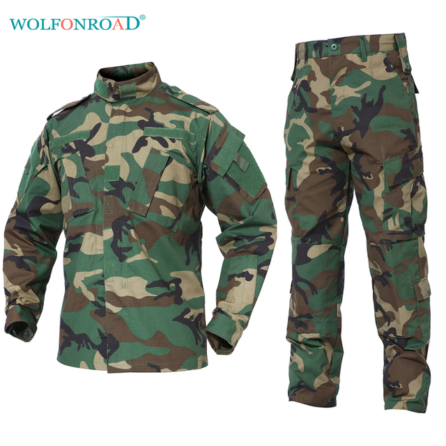 fbe20a5dae441 WOLFONROAD Men Jacket Coat Outdoor Camouflage Suit Tactical Military  Uniform Men's Combat Jacket & Pant Hunting Shooting Clothes