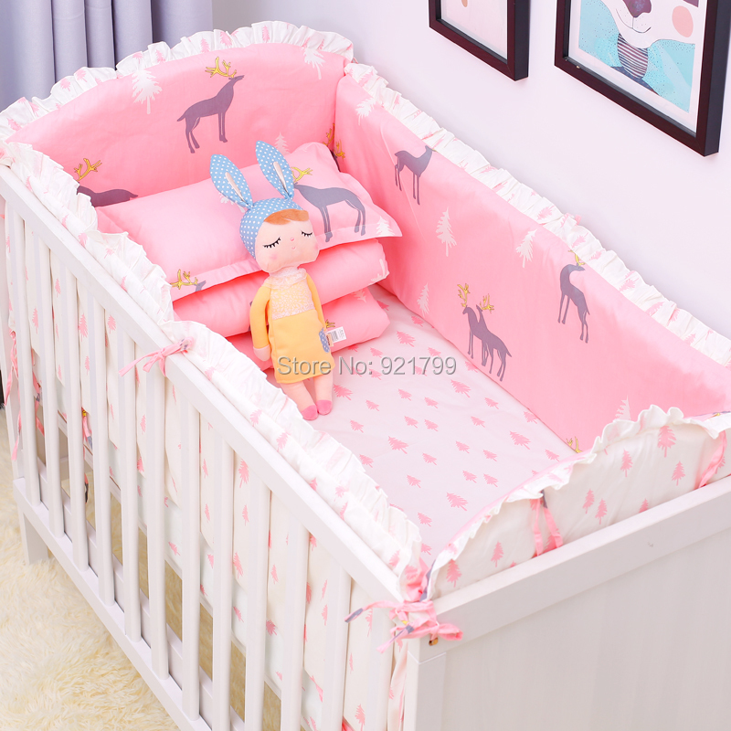 b8be249ce9f2 6Pcs Lot Cotton Baby Crib Bed Bumpers for Newborns Toddler Soft Bed ...