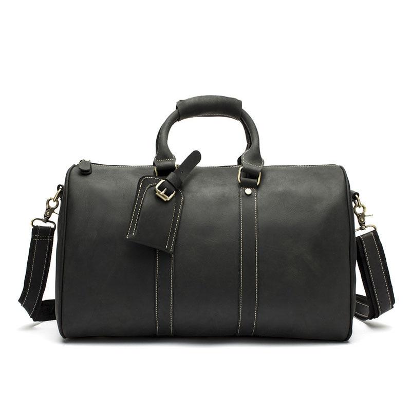 Echte Business Männer Reisetasche Custom Retro Crazy Horseskin Große-kapazität schulter Tasche Tragbare Leder Duffel messenger Taschen