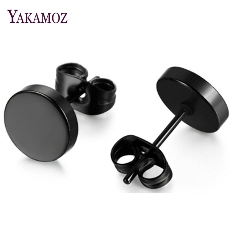 YAKAMOZ Punk Style Black Round Titanium Steel Stud <font><b>Earrings</b></font> Male Female <font><b>Earrings</b></font> Hot Sale <font><b>Men</b></font> <font><b>Earrings</b></font> Drop Shipping2018 image