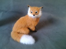 Simulation yellow long tailed fox polyethylene&furs long tailed fox model funny gift about 16*15CM