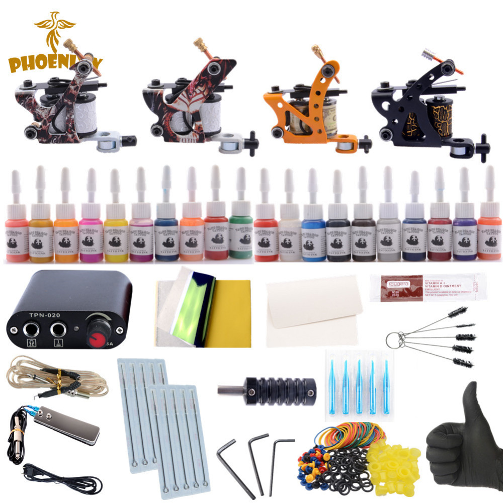 Kit De Tatouage professionnel De Tatouage Machine 4 pièces Shader Pistolets De Tatouage 20 Couleur Immortel Encres Ensemble D'alimentation de Tatouage Complet Grip
