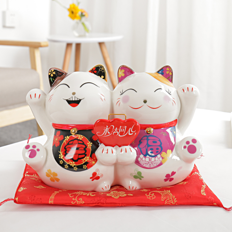 9 5 inch Ceramic Maneki Neko Statue Lucky Cat Money Box Fortune Cat Piggy Bank Feng