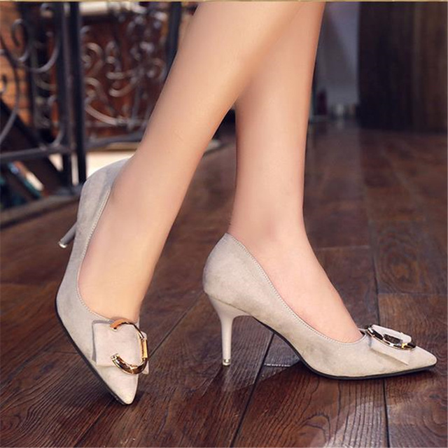 Free shipping women's spring velvet shallow mouth pointed toe thin heel single shoes metal decoration high heel shoes