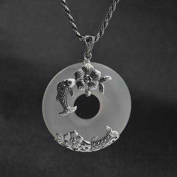 S925 серебро Карп цветок круглый белый халцедон кулон (YRT), Ювелирные украшения
