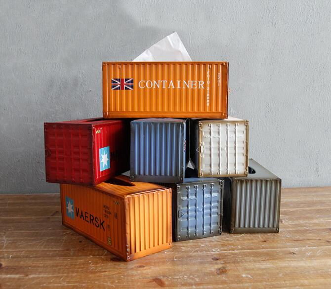 Retro industrial creative metal iron container tissue box Napkin Paper Container