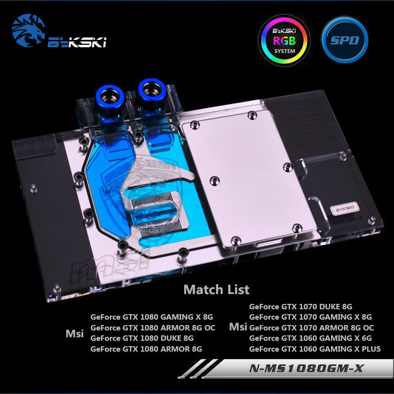 Bykski Full Coverage GPU Water Block For MSI GTX1080 GTX1070 GTX1060 Graphics Card Water-Cooled head N-MS1080GM-X bykski full coverage gpu water block for maxsun gtx1080 super jetstream graphics card n mx1080sjm x