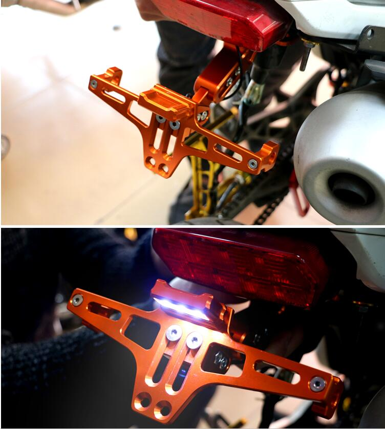 Motorcycle Accessories CNC License Plate Mount Holder with LED Light For Yamaha T Max 500 T Max 530 ABS Tracer 900 ABS V MAX in Covers Ornamental Mouldings from Automobiles Motorcycles