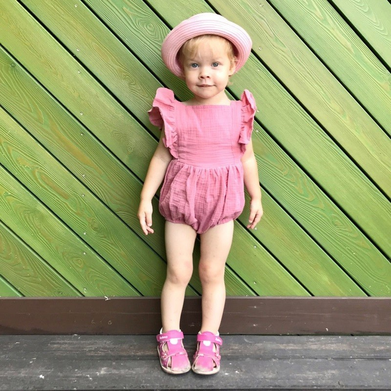 HTB1FOyGe2WG3KVjSZFgq6zTspXaE Organic Cotton Baby Girl Clothes Summer New Double Gauze Kids Ruffle Romper Jumpsuit Headband Dusty Pink Playsuit For Newborn 3M