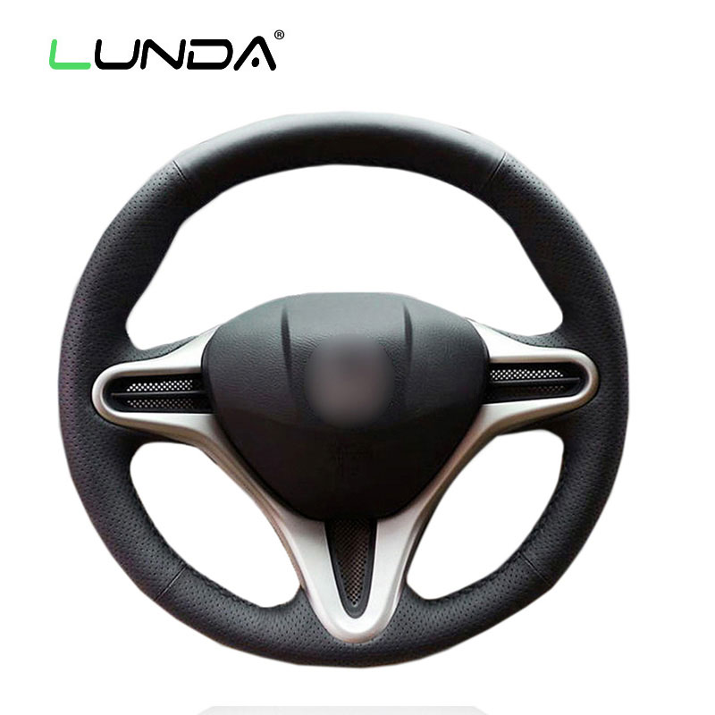 LUNDA Black Leather Car Steering Wheel Cover for Honda Civic Old Civic 2006-2011