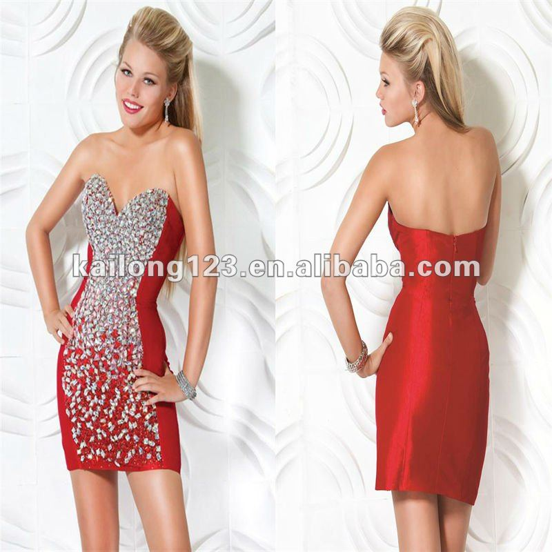 Short Tight Fitted Dresses Red Wedding Reception