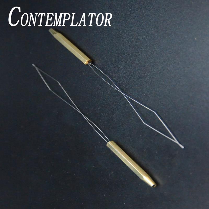 CONTEMPLATOR Useful 1piece Fly Fishing Bobbin Threader Brass Tool Bobbin Holder Fly Tying Thread Bug Binding Tools For Threading