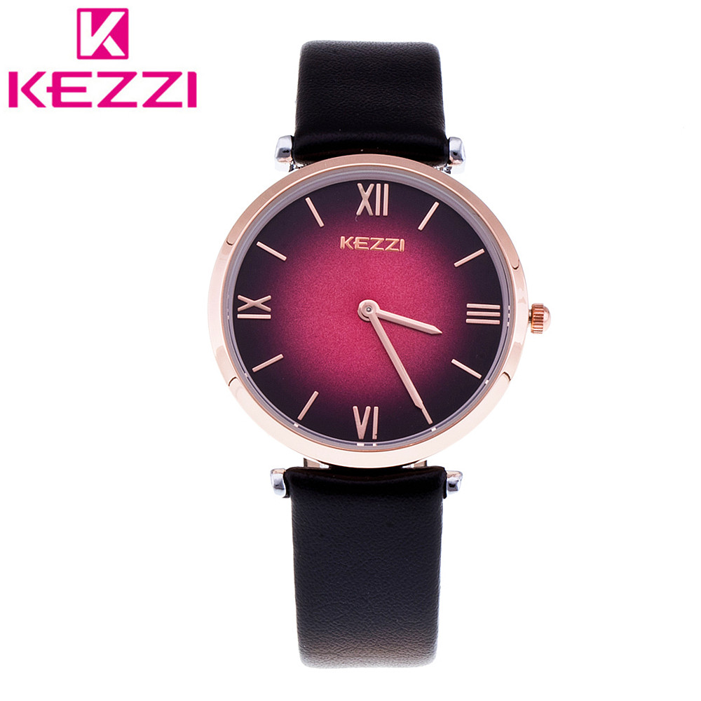 K-1473 Fashion KEZZI Women Wristwatch Ladies Luxury Leather Strap Quartz Watch Relogio Feminino Gift KZ136 miler vintage fashion watch women retro leather strap world map casual quartz wristwatch ladies creative clock relogio feminino