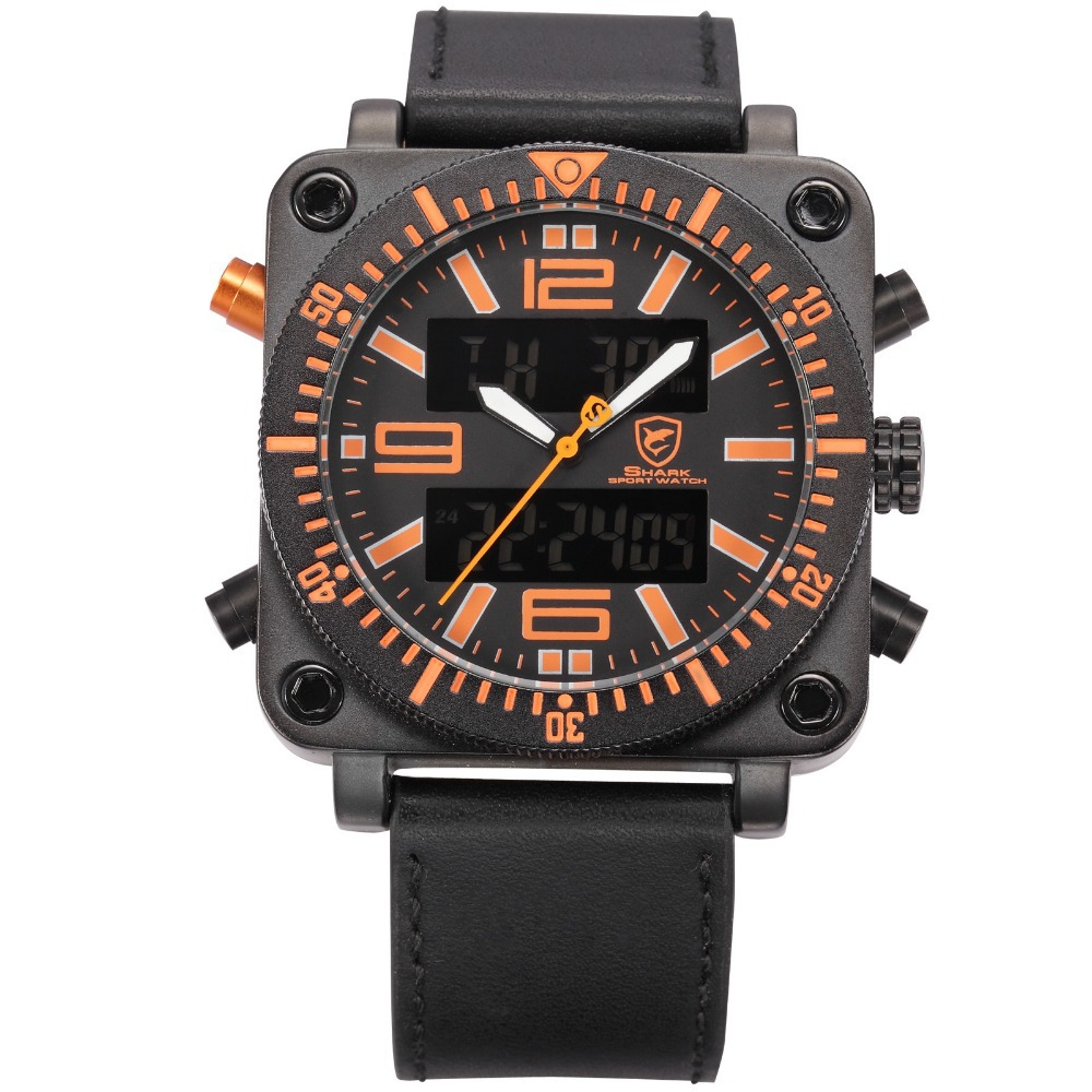 SHARK Sport Watch Orange Square Stainless Steel Case Chronograph Dual Time Auto Date Male Men Military LCD Digital Clock / SH127 snaggletooth shark sport watch lcd auto