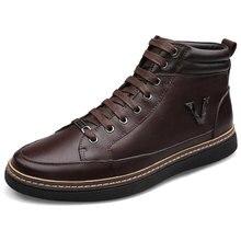 Plus Size Men Winter Boots Genuine Leather Ankle Boots Botas Masculina Men's Shoes Snow Rubber Boots 2015 Zapatos Hombre