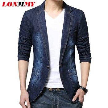 LONMMY Denim blazer men jeans slim fit Cowboy coats Leisure mens suit jean jacket Men casual coat Single button New 2019