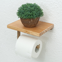 Retro Iron Toilet Paper Holder Hotel Roll Paper Wall Hanging Rack Wooden Shelf with Phone Holder Toilet Paper Holder Vintage