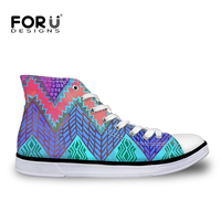 FORUDESIGNS 2018 Autumn Fashion Chevron New Design High Top Lace up Women Canvas Shoes Woman Sneakers Vulcanize Flats Zapatos