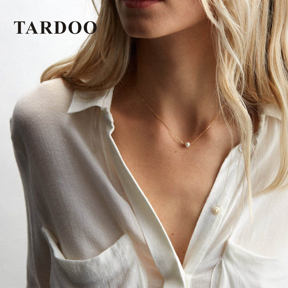 Tardoo Pearls Gold Chain Necklace 925 Silver White Pearls Necklace For Women Rose Gold Chain Silver Necklace Brand Fine Jewelry tardoo crossed double circle necklace 925 silver simple double circle gold necklace women fine jewelry hoop pendant necklace