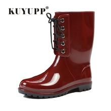 KUYUPPผู้หญิงลูกไม้ขึ้นรองเท้าฝนต่ำส้นกลางลูกวัวกันน้ำW Ellyรองเท้าRainbootsน้ำรองเท้าถุงเดิมขนาด36-40 DX208